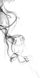 Abstract smoke on white background. Texture. Design element. Abstract art. The smoke from the incense sticks. Macro shooting.