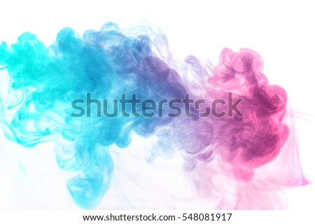 Abstract smoke Weipa. Personal vaporizers fragrant steam. concept of alternative non-nicotine smoking. Blue magenta vape smoke on white background. E-cigarette. Evaporator. Taking Close-up. Vaping.