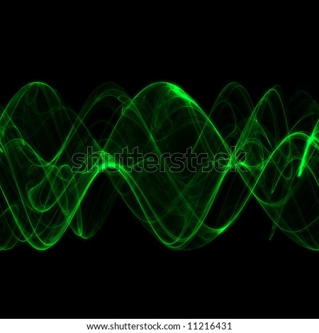 Abstract Smoky Green Sine Waves (seamless pattern on X-axis) - stock photo
