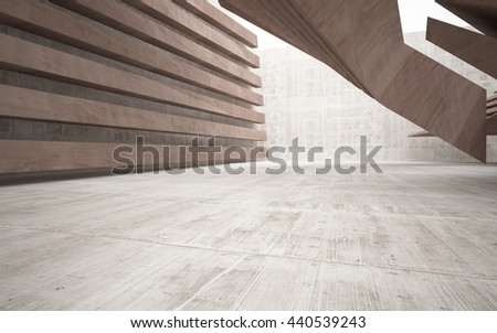 Abstract smooth brown concrete future interior with a large window. Architectural background.. 3D illustration. 3D rendering