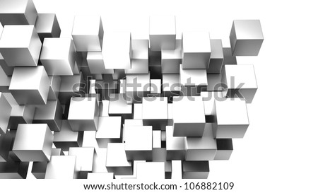 abstract smooth metallic cubes background 3d - stock photo