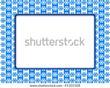 Abstract snowflakes background with a frame for notes or photos