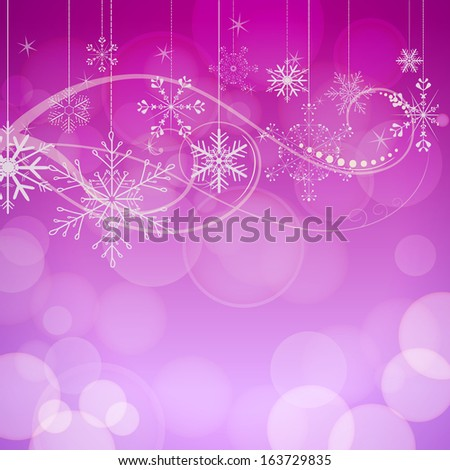 abstract snowflakes on pink bokeh background - stock photo