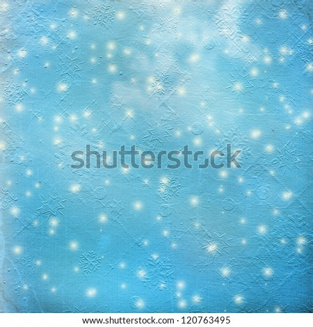 Abstract snowy background with snowflakes, stars and fun confetti - stock photo