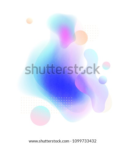 Abstract soft gradient blur, colorful fluid and geometric shapes, paper texture on white background. Modern design for poster, header, flyer etc. Inspired by liquid flow in contemporary art #1099733432