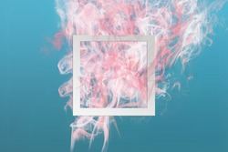 Abstract soft pink color paint smoke explosion with square frame on classic blue background. Creative minimal design composition with copy space.