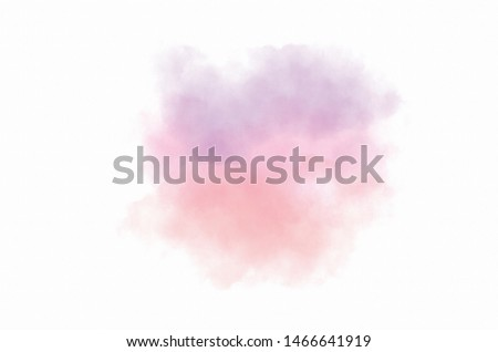 Abstract soft pink, soft coral and soft purple  watercolour splash on white background.