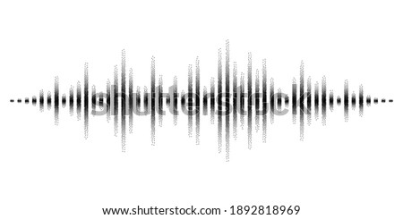 Abstract sound waves stylized with stippled vanishing columns. Dynamic equalizer visual effect. Illustration isolated on white background.