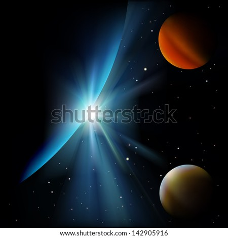 abstract space background with stars and planets