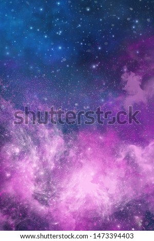 Abstract space galaxy background with purple colored shiny cosmic star