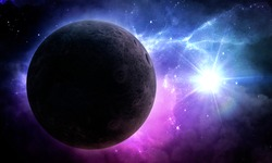 abstract space illustration, 3d image, 3d rendering, background image, planet in space in the radiance of stars, nebulae and satellites