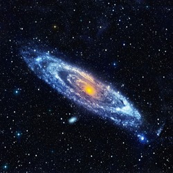 Abstract space landscape with a spiral galaxy. Illustration
