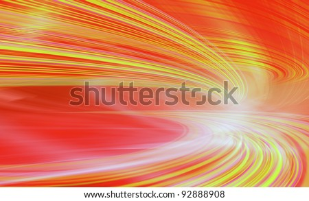 Abstract speed motion in blue highway road tunnel, fast moving toward the light, colorful technology background. Computer generated illustration.