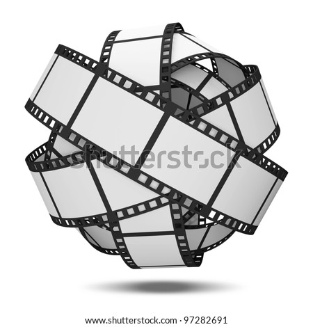 Abstract Sphere From Blank Film Strip isolated on white background