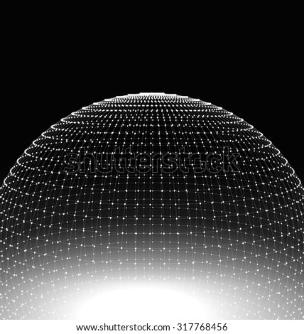 Abstract Sphere Surface Wireframe Polygonal Lines and Dots. Futuristic Technology Style - raster #317768456