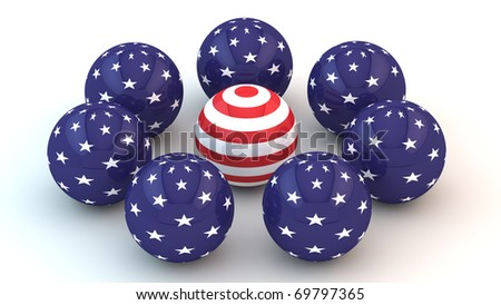 Abstract spheres with parts of the American flag.
