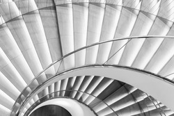 Abstract spiral staircase view from top