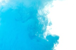 Abstract splash of blue paint isolated on white background