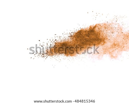 Stock Photo abstract splatted powder on white background, Colorful brown powder texture
