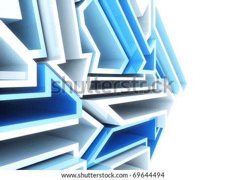 Abstract sport geometrical background with blue and white arrows