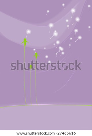 abstract spring background with dandelion