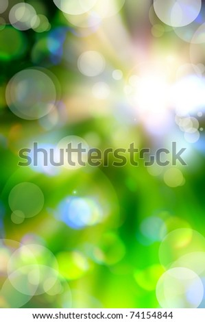 abstract spring green background and light reflect