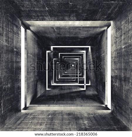 Abstract square dark concrete tunnel interior, 3d render background ストックフォト ©