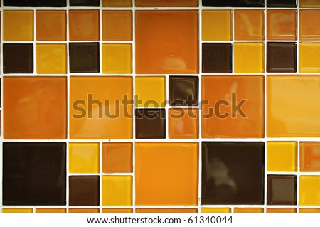 Abstract square pixel mosaic background : Orange style