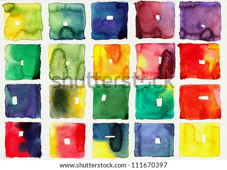 Abstract square watercolor : illustration on paper