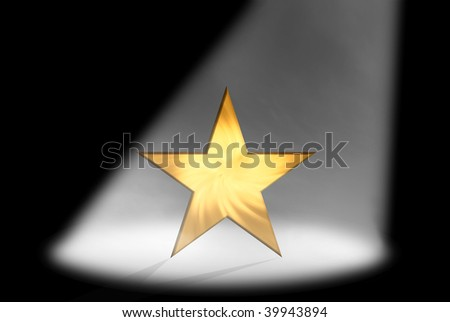 abstract stage and star at spotlight