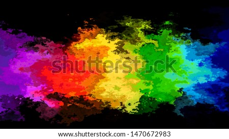 abstract stained pattern texture rectangle background neon full color rainbow in the black night - modern painting art - watercolor splotch effect