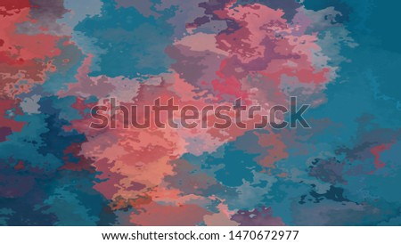 abstract stained pattern texture rectangle background ocean blue and coral pink orange color - modern painting art - watercolor splotch effect
