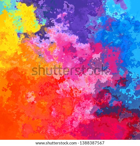 abstract stained pattern texture square background full color spectrum rainbow - modern painting art - watercolor splotch effect - vibrant neon bright color hot pink, magenta, orange, yellow, purple