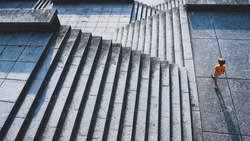 Abstract stairs in black and white, abstract architecture steps, stone stairway on monuments and landmarks