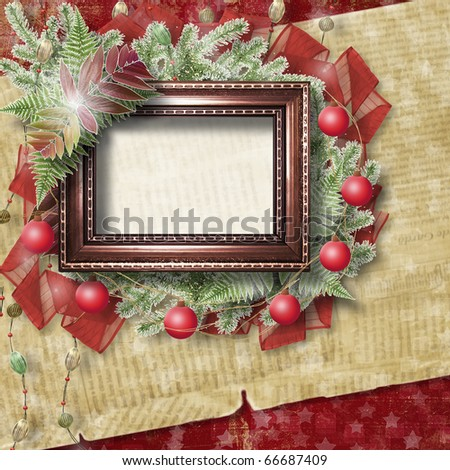 Abstract star background with wooden frame and bunch of twigs Christmas trees