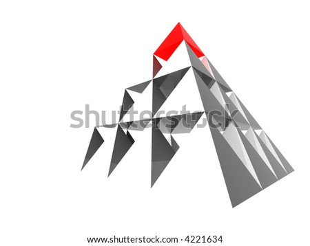 Abstract steel pyramid with red top.