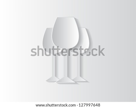 Abstract sticker background with wine glasses and space for text.