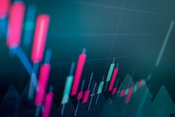 Abstract stock market Candlestick graph background finance, forex, Cryptocurrency and stock market data.