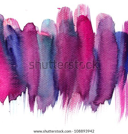 Abstract stripe watercolors : colors wet on dry paper