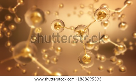 Abstract Structure Background Gold Molecule Or Atom,3d rendering