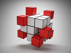 Abstract structure of cubes with red key elements