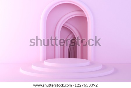 Abstract structure,Product showcase background, Long tunnel.3D rendering of intersecting arcs