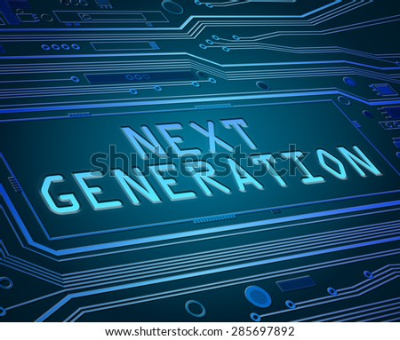 Abstract style illustration depicting printed circuit board components with a next generation concept.