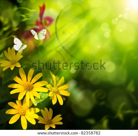 Abstract summer background. Flower and butterfly - stock photo