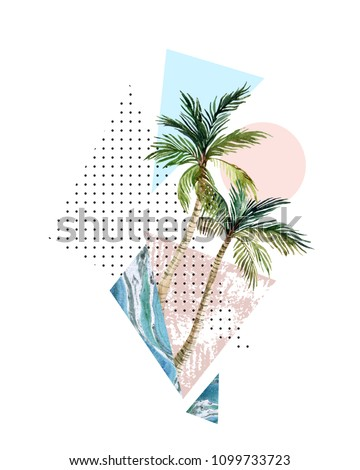Abstract summer background. Triangle, circle, watercolor palm tree, marble, grunge textures. Geometric design for t-shirt, flyer, poster in retro 80s, 90s. Hand painted summer beach illustration