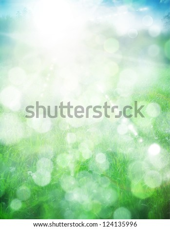Abstract summer background with sun beams and defocused lights