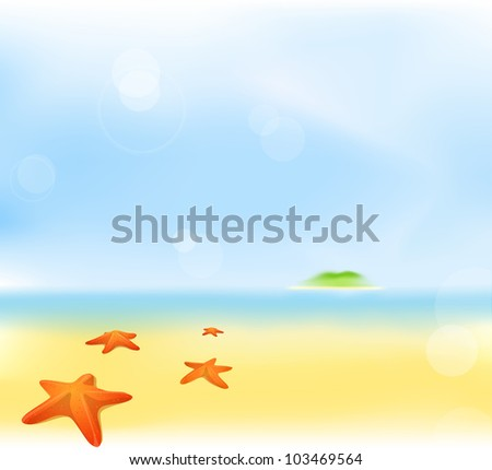 abstract summer beach blur background with green island and sea star