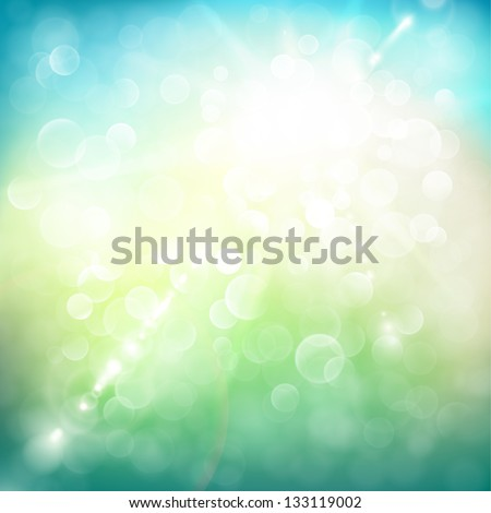 Abstract summer illustration with sun beams and defocused lights - raster version
