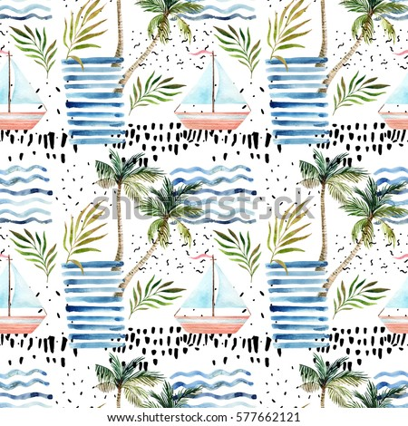 Abstract summer seamless pattern. Watercolor sailboat, palm tree, leaves, grunge textures, doodles, brush strokes. Water color background in minimalistic style. Hand painted tropical illustration