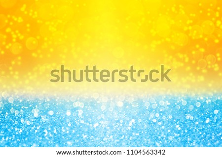 Abstract summer tropics blue yellow sky sunset or sunrise sparkle sun shine burst bokeh party invite or sunny holiday sale background texture over sea surf, ocean, beach, pool or water bubbles pattern